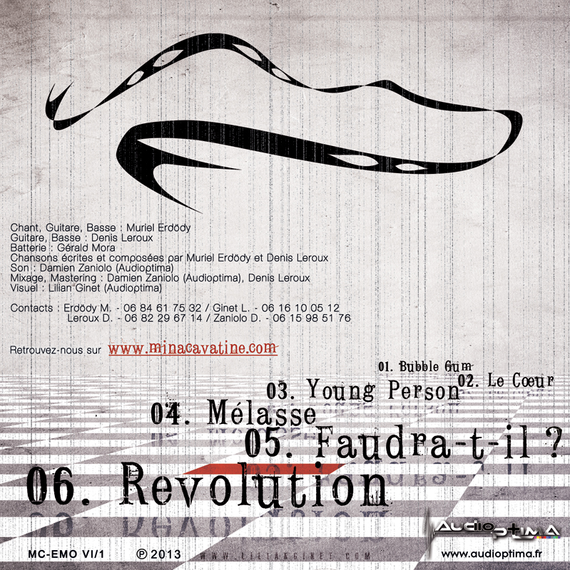 "MINA CAVATINE : EP ""Emotions VI"", Arrière"