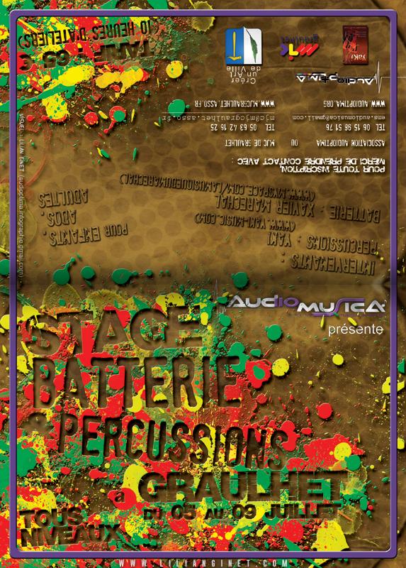 STAGE BATTERIE & PERCUSSIONS AFRICAINES : Flyer A6 4 Pages, Arrière et Couverture